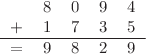 <math> \begin{tabular}{ccccc} &8 &0 &9 &4 \\ + &1 &7 &3& 5\\ \hline = &9 &8 &2 &9 \end{tabular} </math>