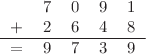 <math> \begin{tabular}{ccccc} &7 &0 &9 &1 \\ + &2 &6 &4& 8\\ \hline = &9 &7 &3 &9 \end{tabular} </math>