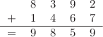 <math> \begin{tabular}{ccccc} &8 &3 &9 &2 \\ + &1 &4 &6& 7\\ \hline = &9 &8 &5 &9 \end{tabular} </math>
