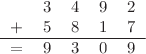 <math> \begin{tabular}{ccccc} &3 &4 &9 &2 \\ + &5 &8 &1& 7\\ \hline = &9 &3 &0 &9 \end{tabular} </math>